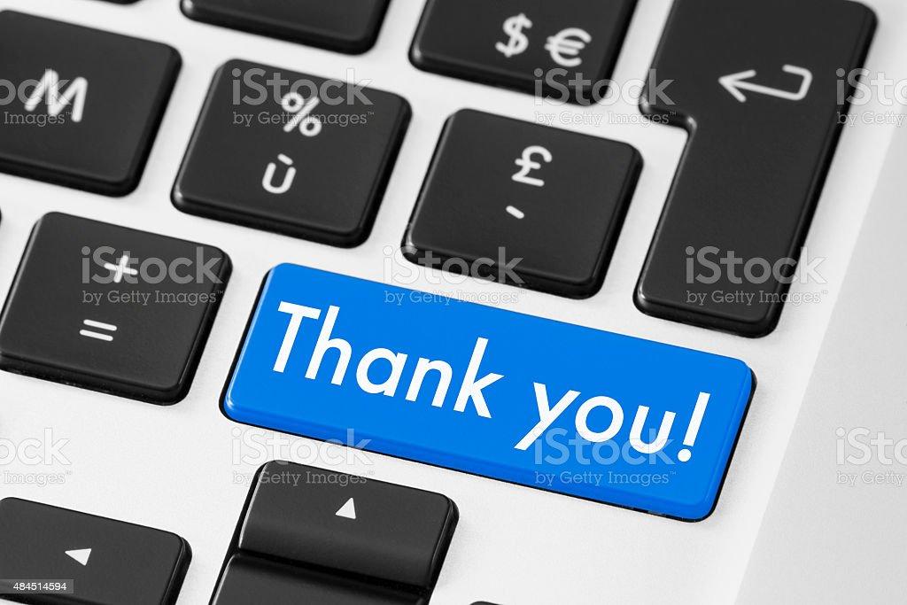 Thank you button keyboard for polite feedback stock photo