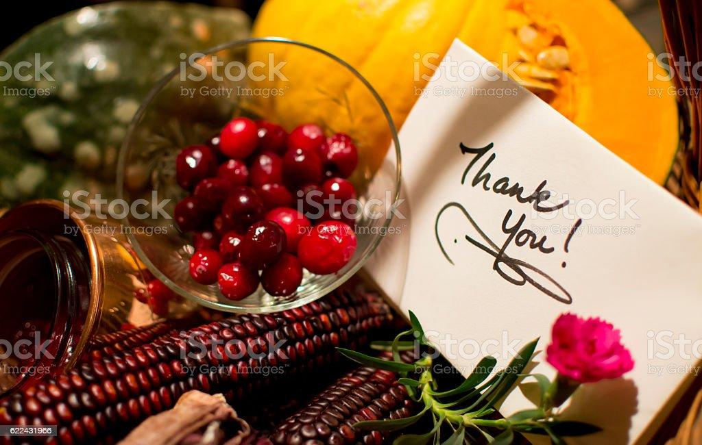 Thank You Card Handwritten Autumn Gift Basket stock photo