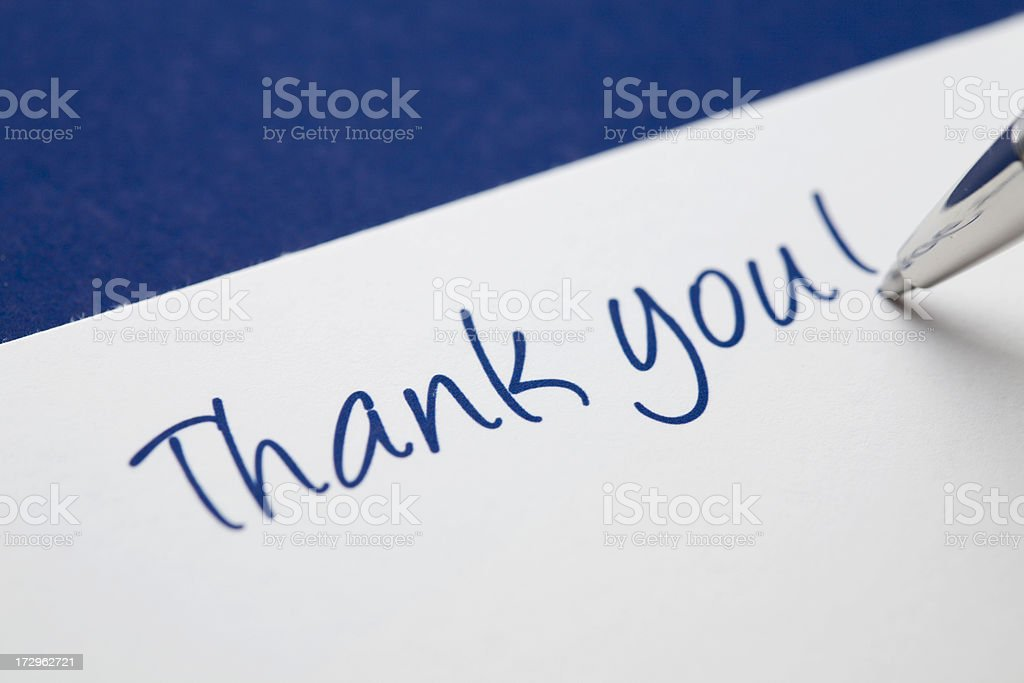 Thank you card on blue stock photo