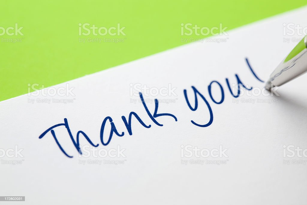 Thank You Card on Green stock photo