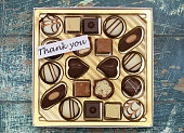 Thank you card with box of assorted milky, white chocolates