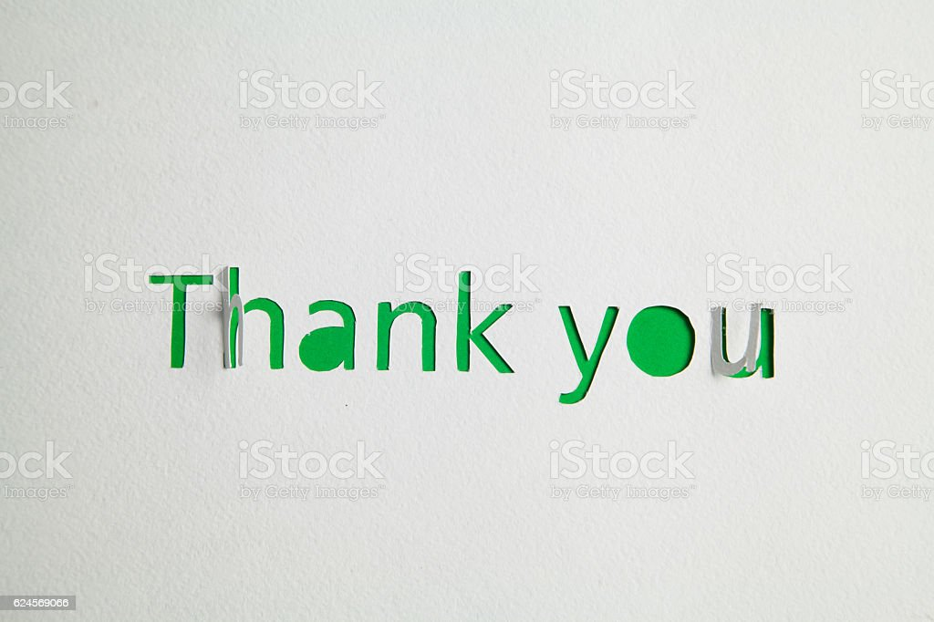 Thank you cut out from paper stock photo