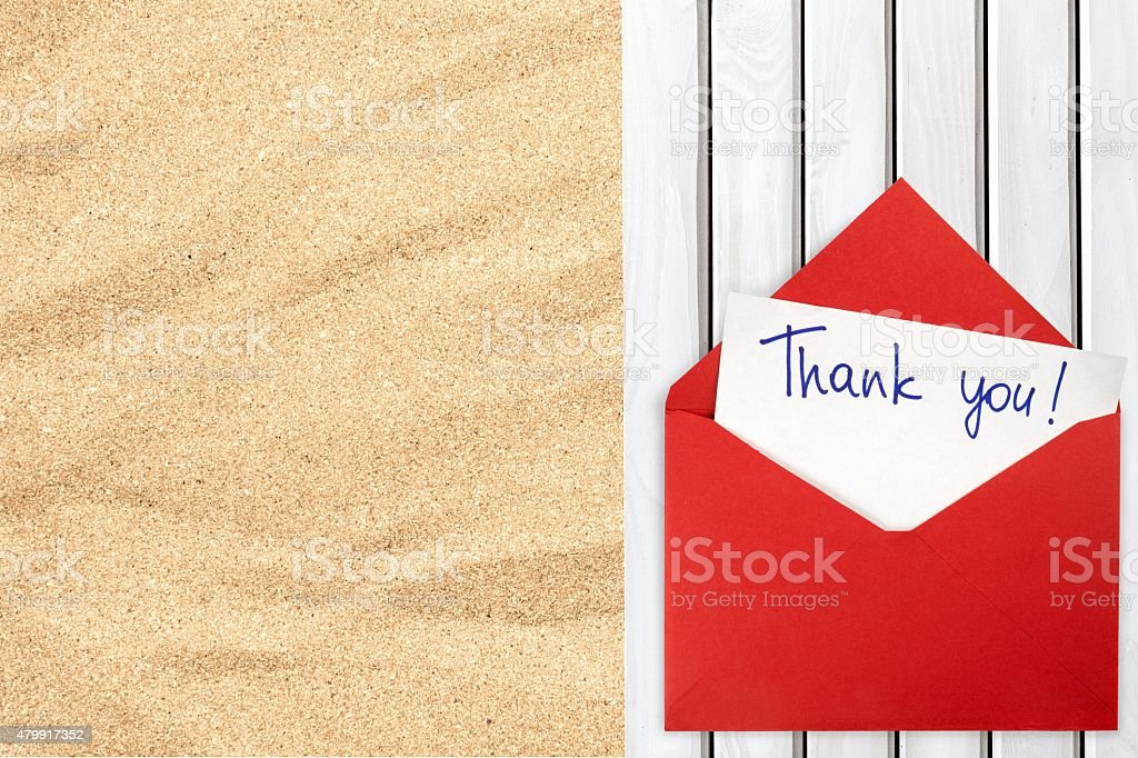 Thank You, Envelope, Letter stock photo
