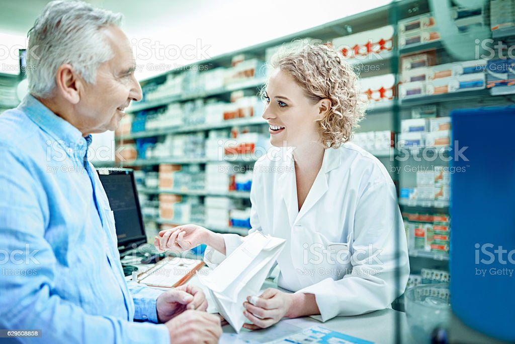 Thank you for having your prescription filled here... stock photo