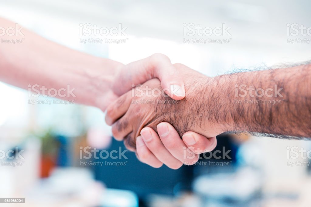 Business executives shaking hands on a business agreement.