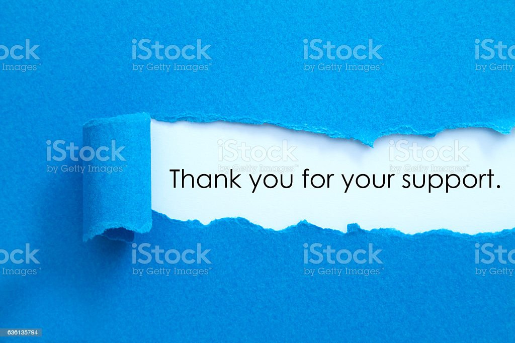 Thank you for your support. stock photo