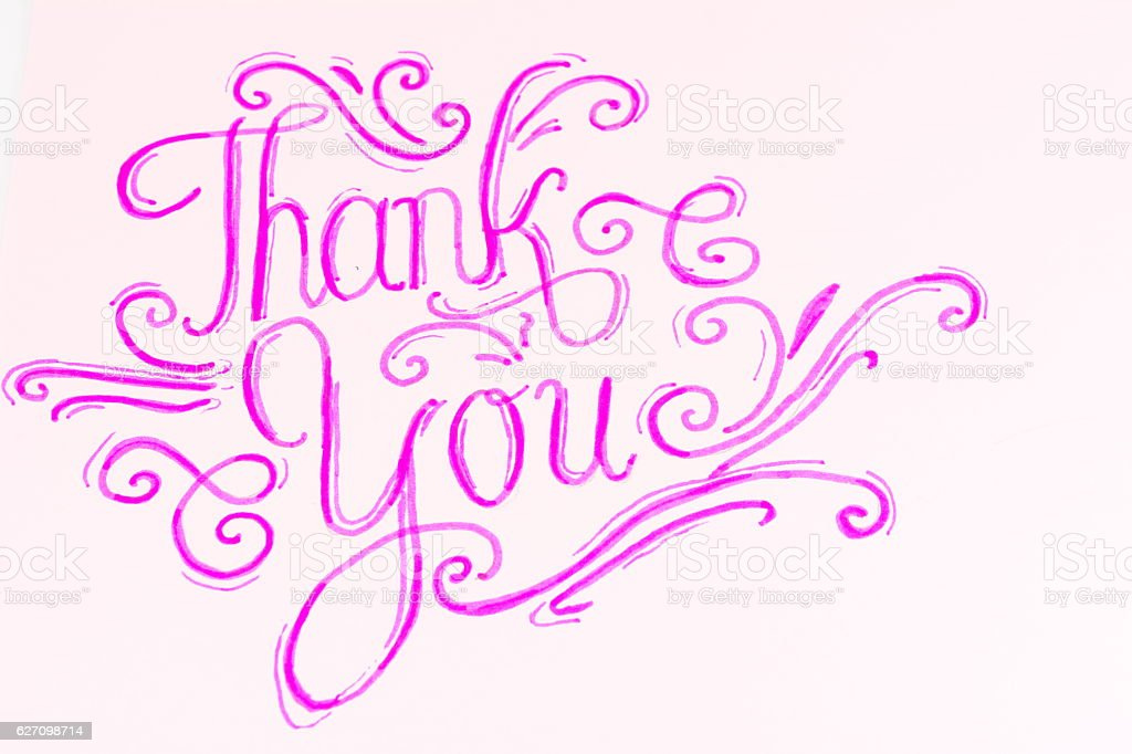 thank you handwritten calligraphy stock photo