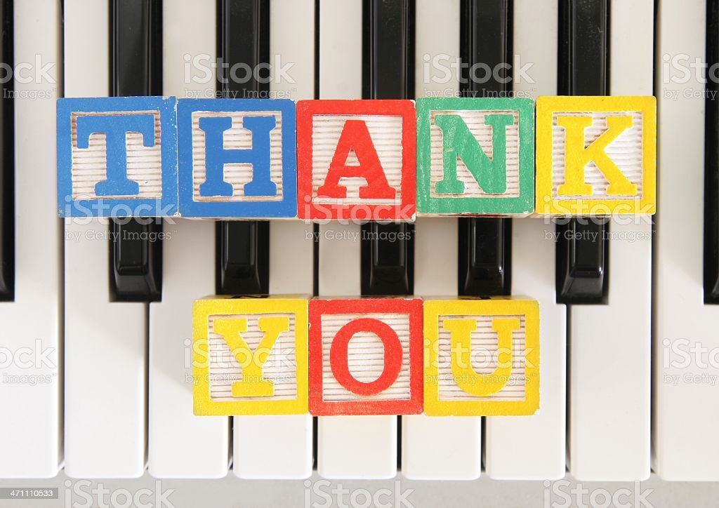 Thank you in blocks on Piano stock photo