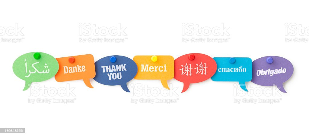 Thank You in different languages on speech bubbles stock photo