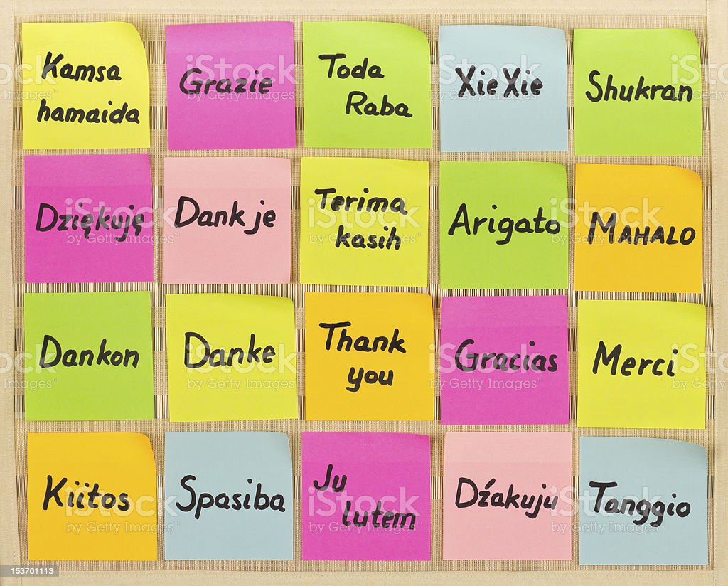 Thank you in different languages royalty-free stock photo