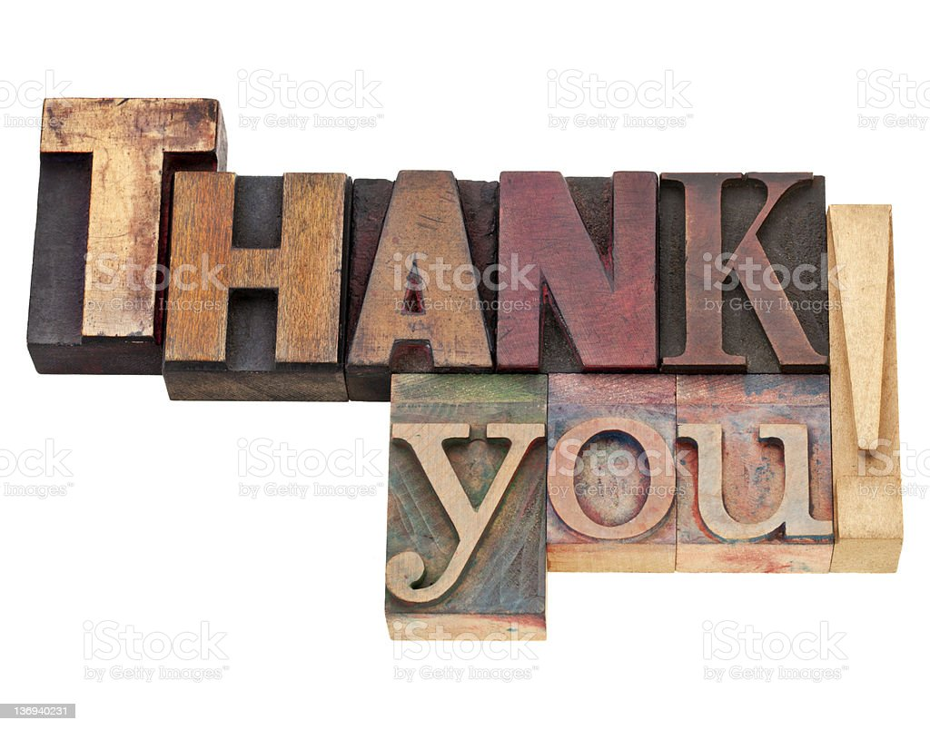 thank you in letterpress type royalty-free stock photo