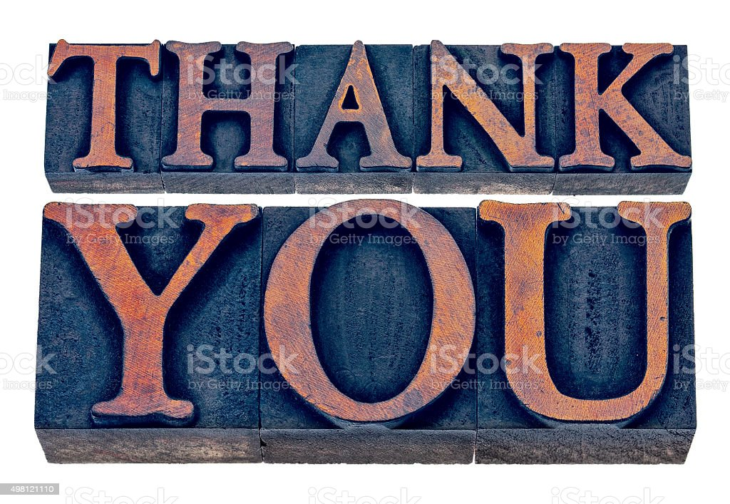 thank you  in wood type stock photo