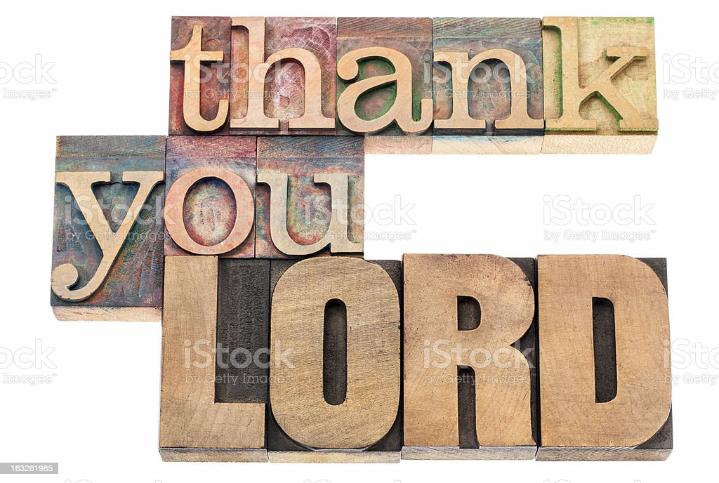thank you Lord in wood type royalty-free stock photo