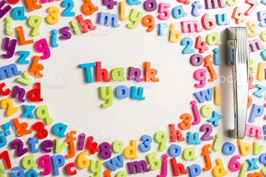 Thank You magnetic letters on refrigerator door stock photo