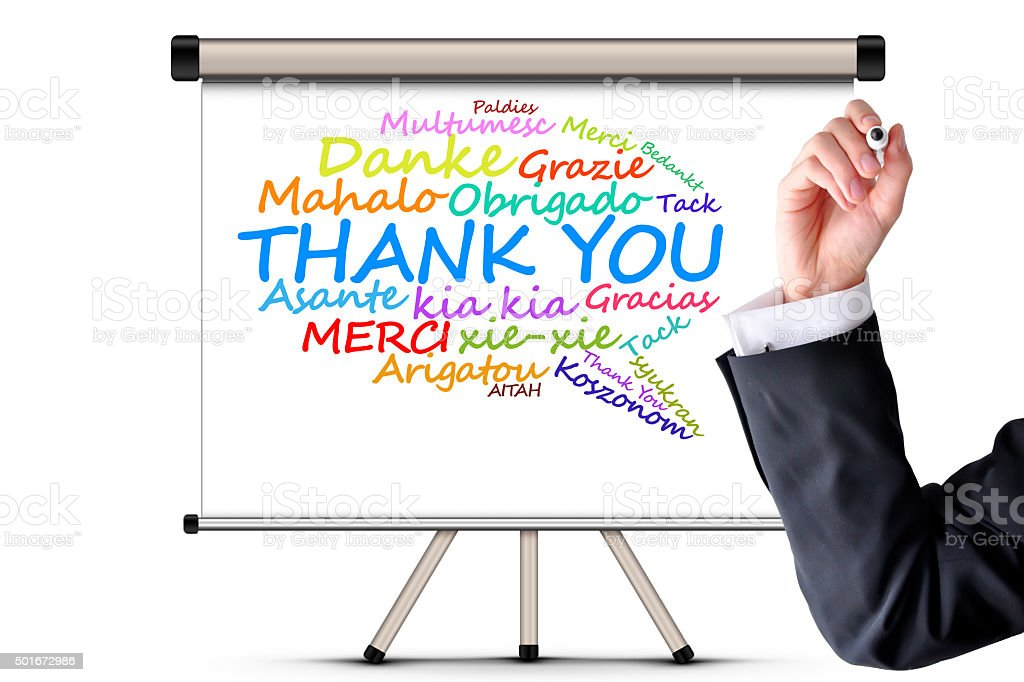 Thank you message in different languages stock photo