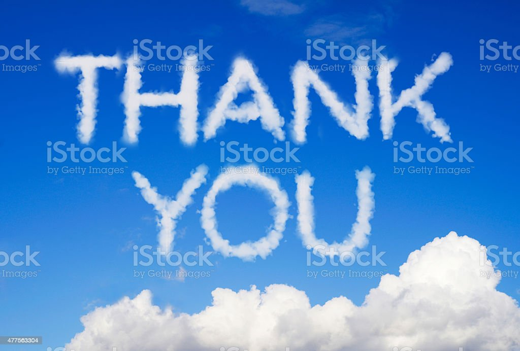 Thank you message in the sky stock photo