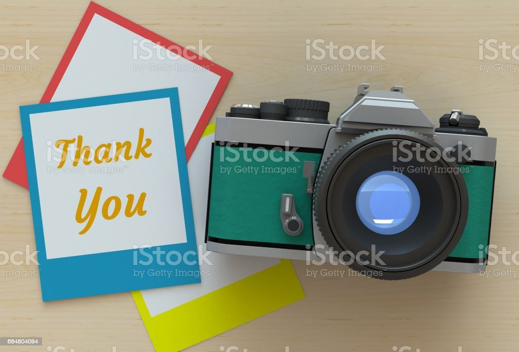 Thank you, message on photo frame stock photo
