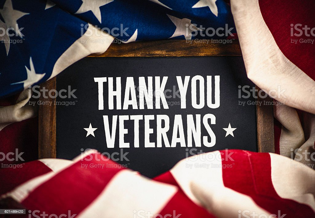 Thank you military veterans. US military veterans thank you message stock photo