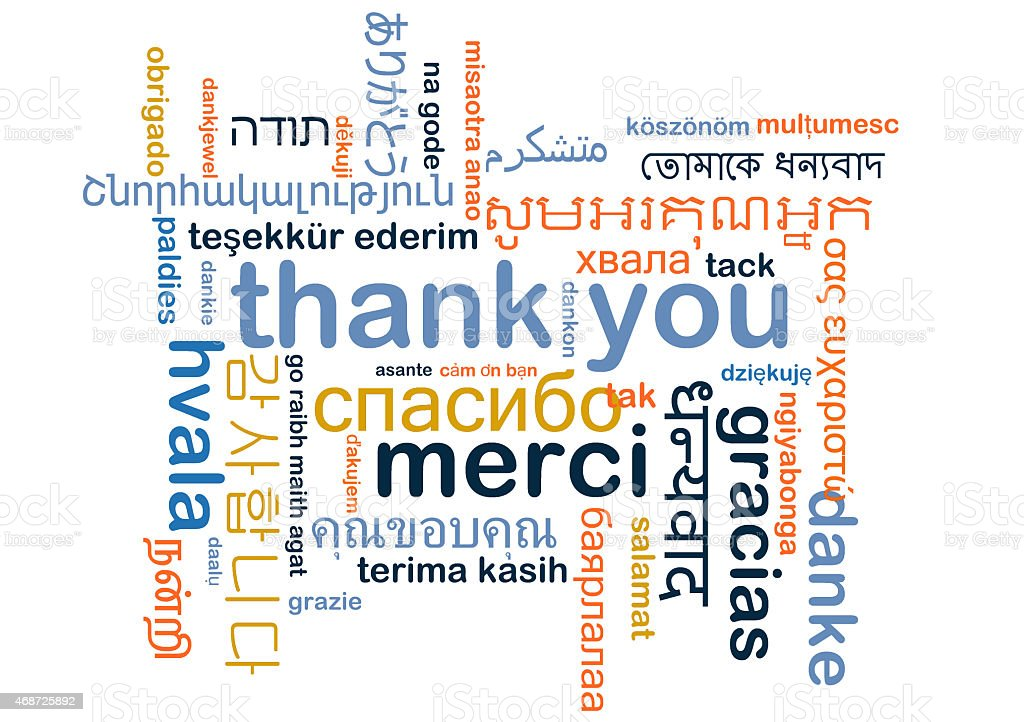 Thank you multilanguage wordcloud background concept stock photo