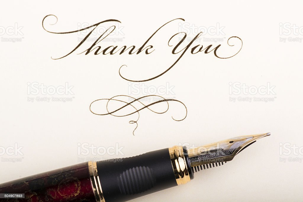 Thank You Note and Pen stock photo