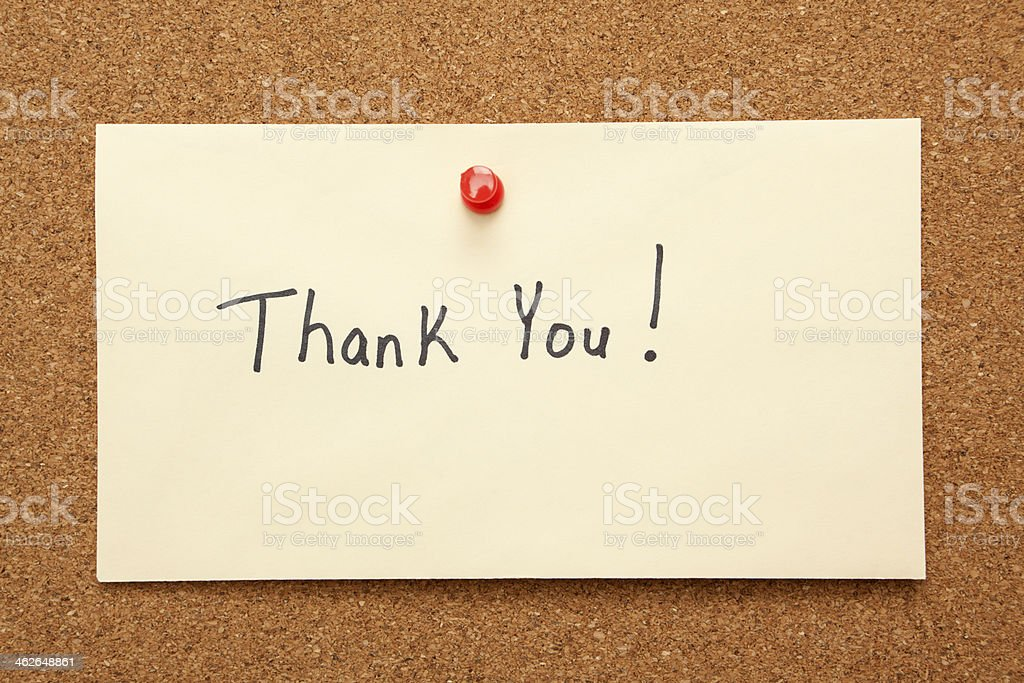 Thank You Note on Bulletin Board stock photo