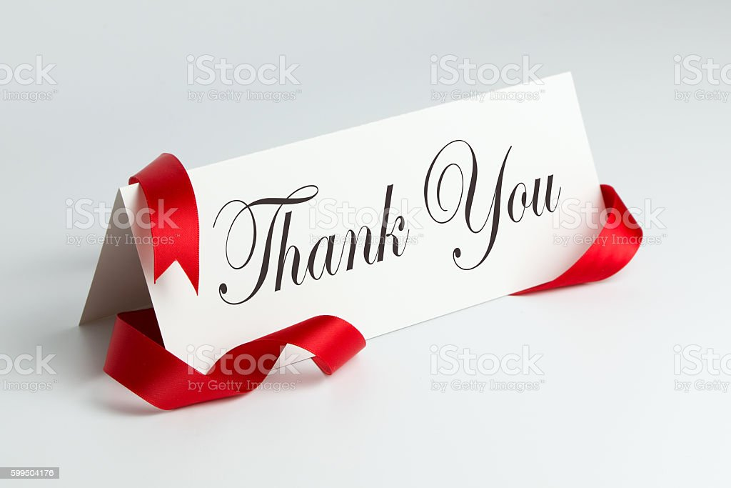 Thank you note stock photo
