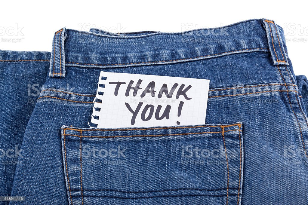 thank you notes in jean pocket stock photo
