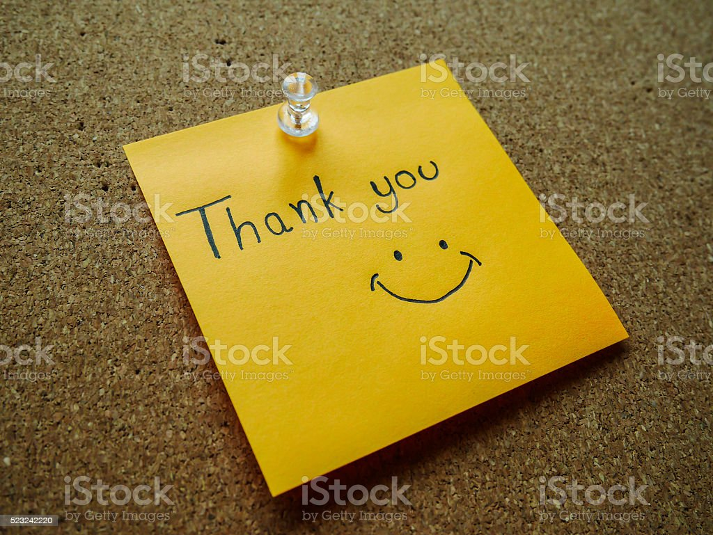 'Thank you' on post it note stock photo