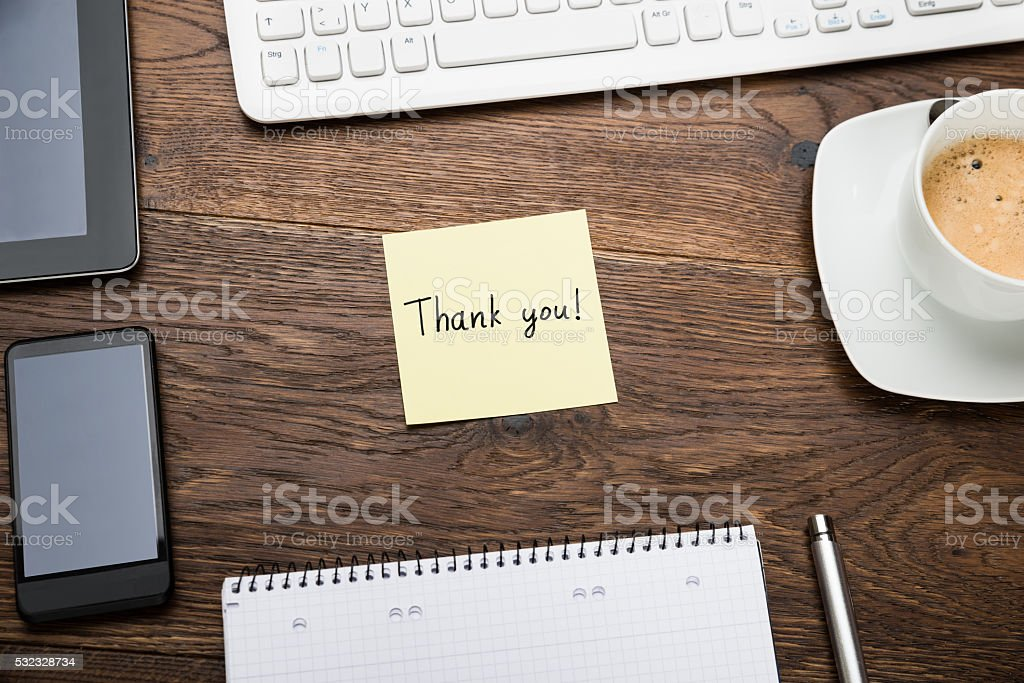Thank You On Post Note stock photo