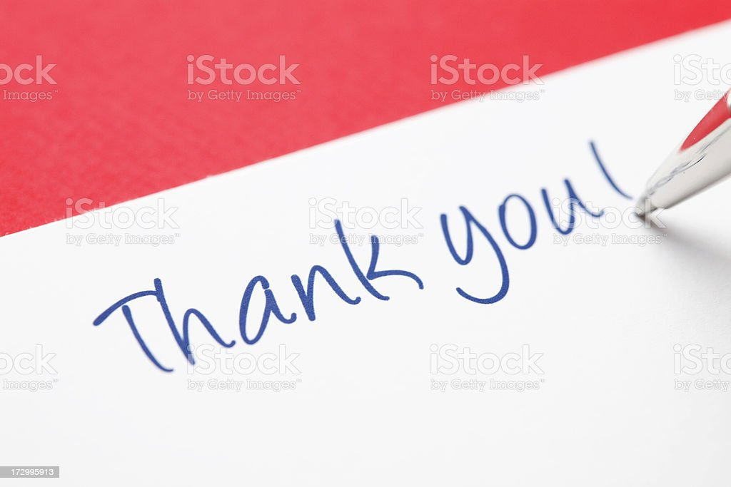 Thank you on red stock photo