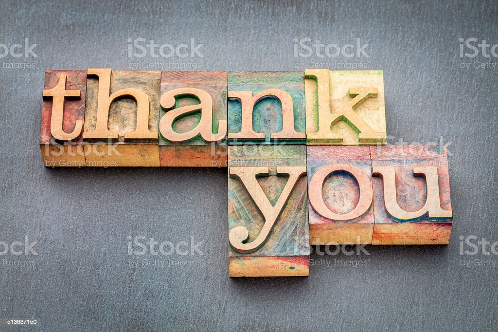thank you phrase in wood type stock photo
