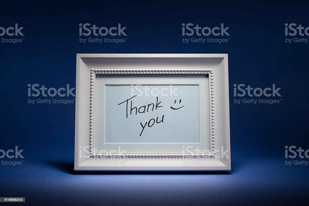 Thank you (in frame) stock photo