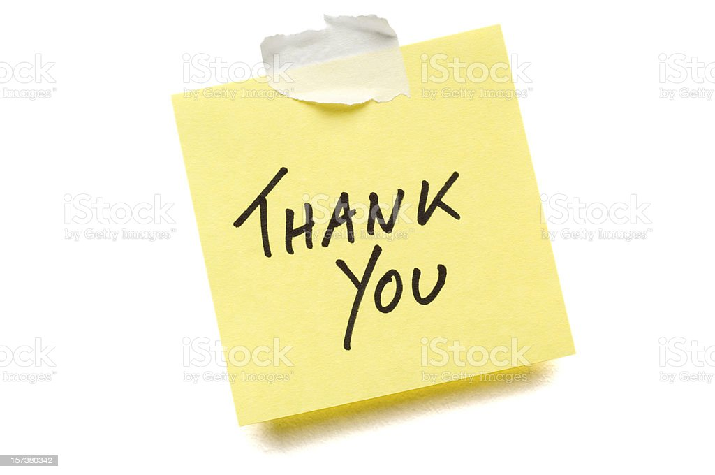 Thank You Post-it Note on white royalty-free stock photo