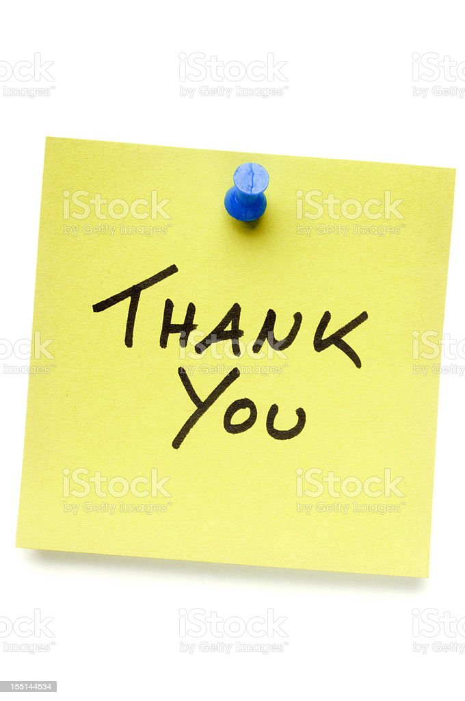 Thank You Post-it Note with Push Pin stock photo