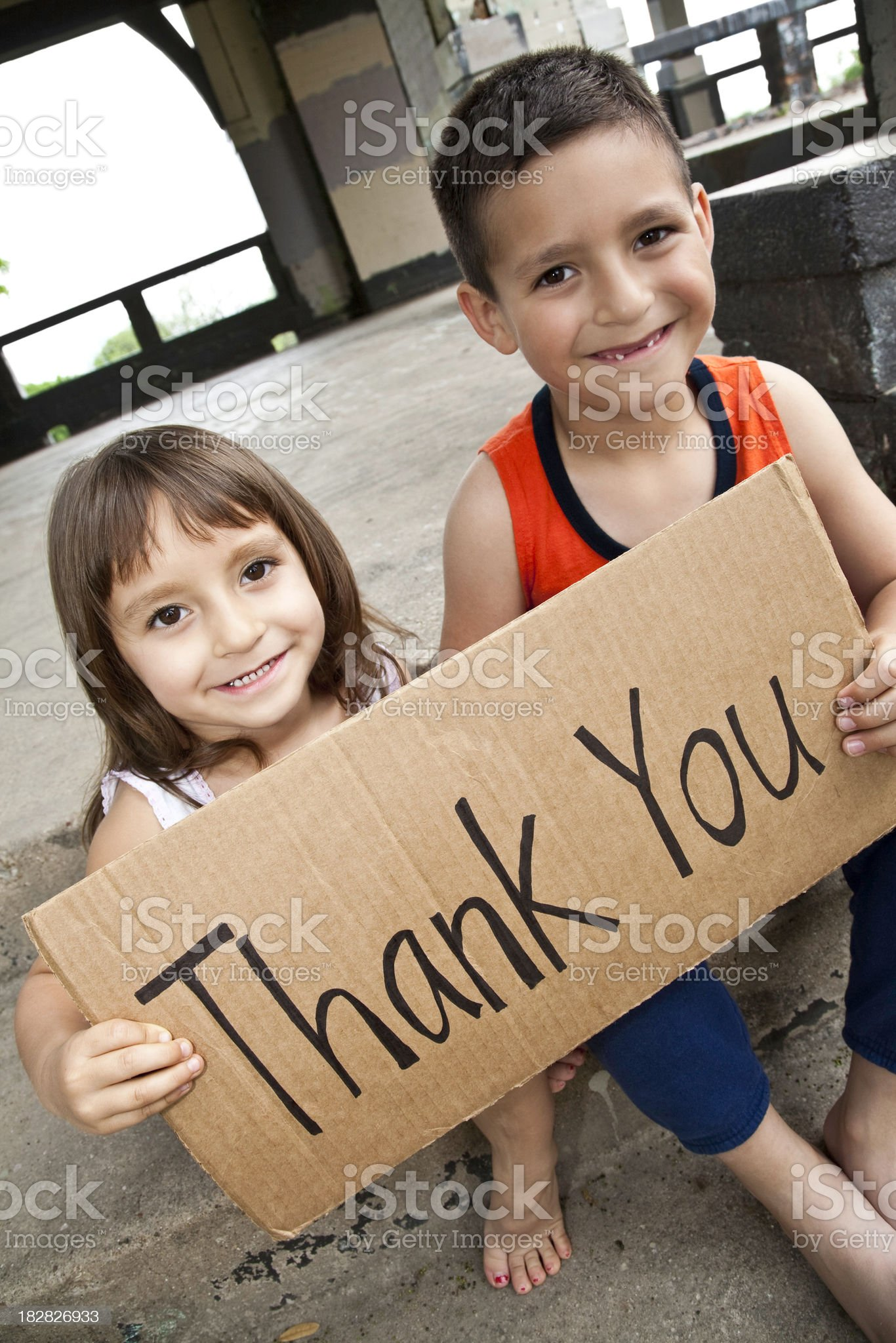 Thank You Sign Held By Cute Hispanic Children royalty-free stock photo