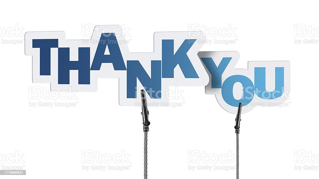Thank You, Speech Bubble in Wire Clam (Clipping Path) stock photo