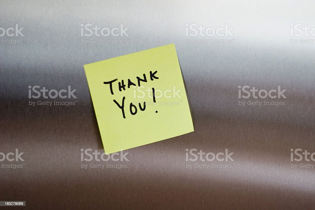 Thank you sticky note on stainless royalty-free stock photo