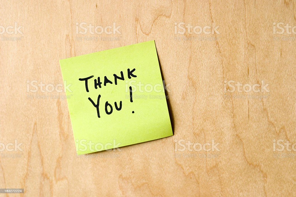 Thank you sticky note on wood royalty-free stock photo
