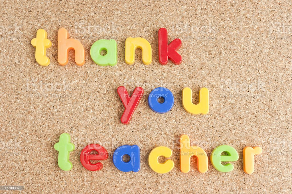 Thank you teacher message on cork board. stock photo