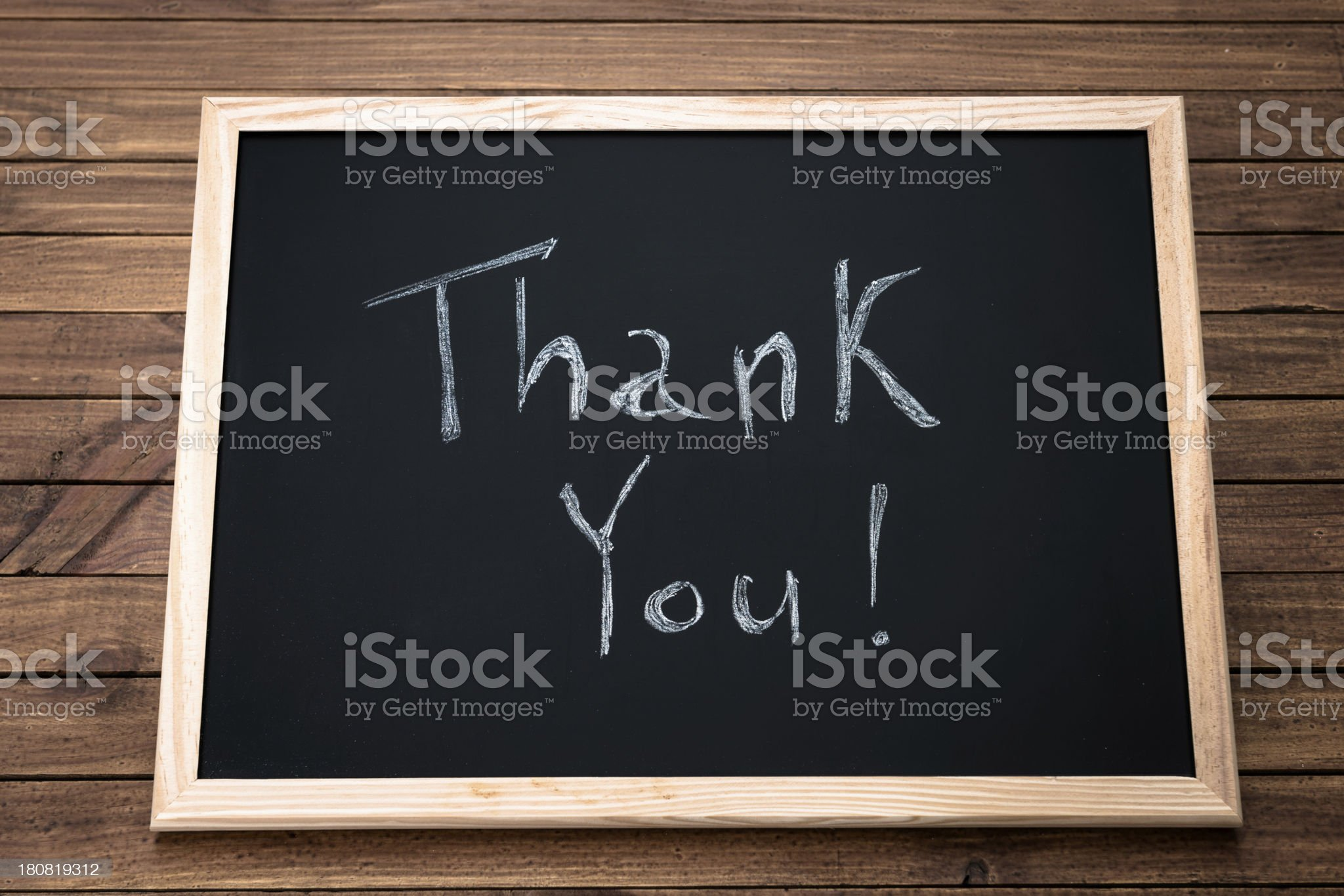 thank you text on blackboard royalty-free stock photo