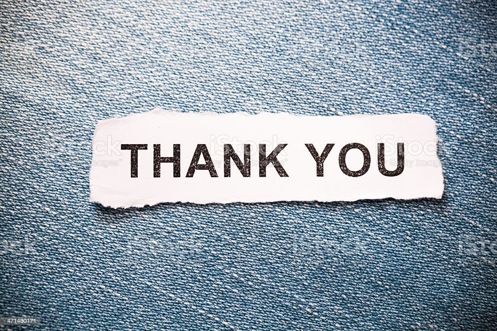 'Thank you' text on jeans background royalty-free stock photo