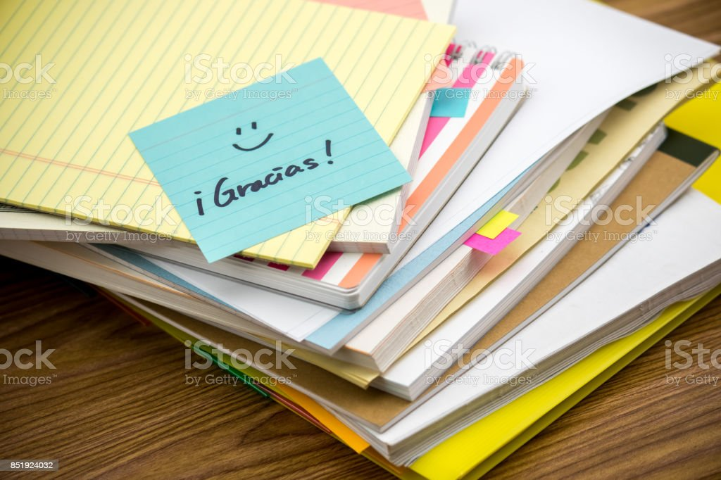 Thank You; The Pile of Business Documents on the Desk stock photo
