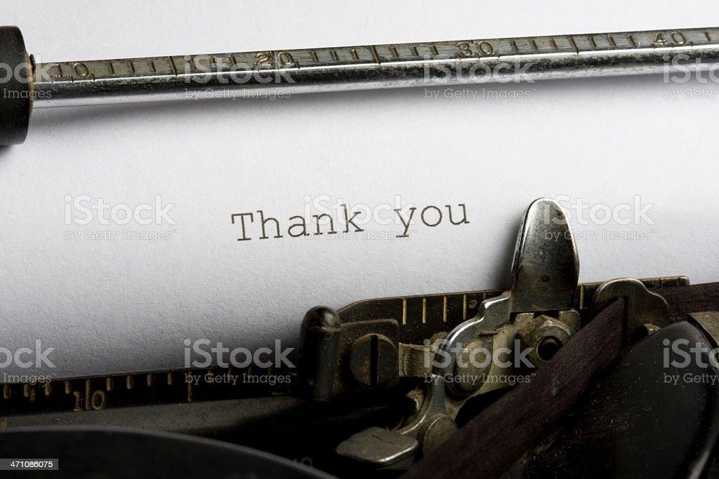 Thank you typed on antique typewriter royalty-free stock photo