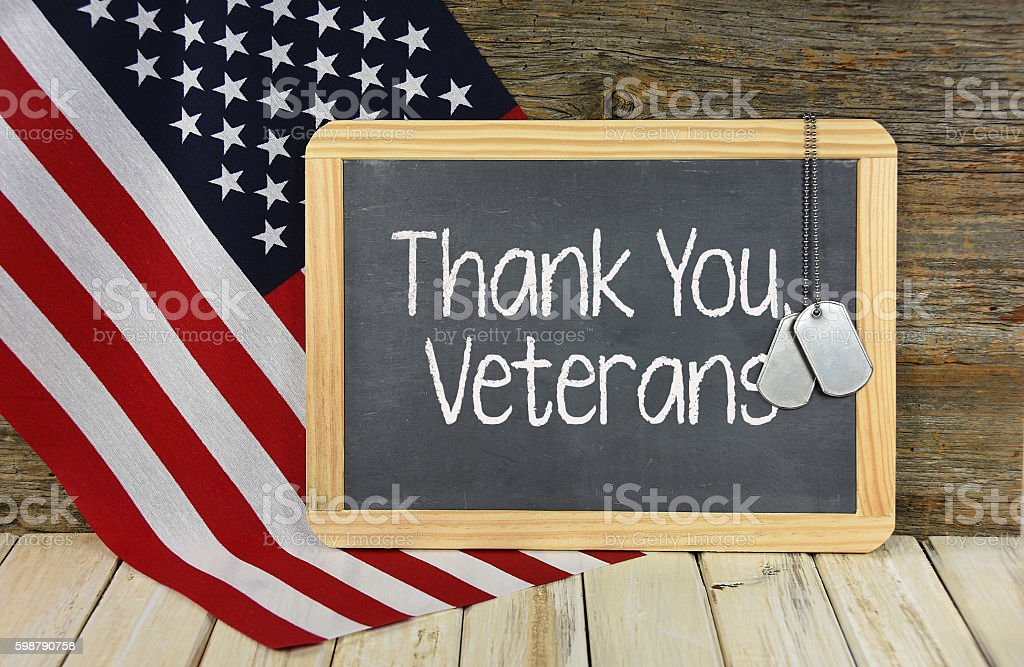 thank you veterans sign on blackboard stock photo