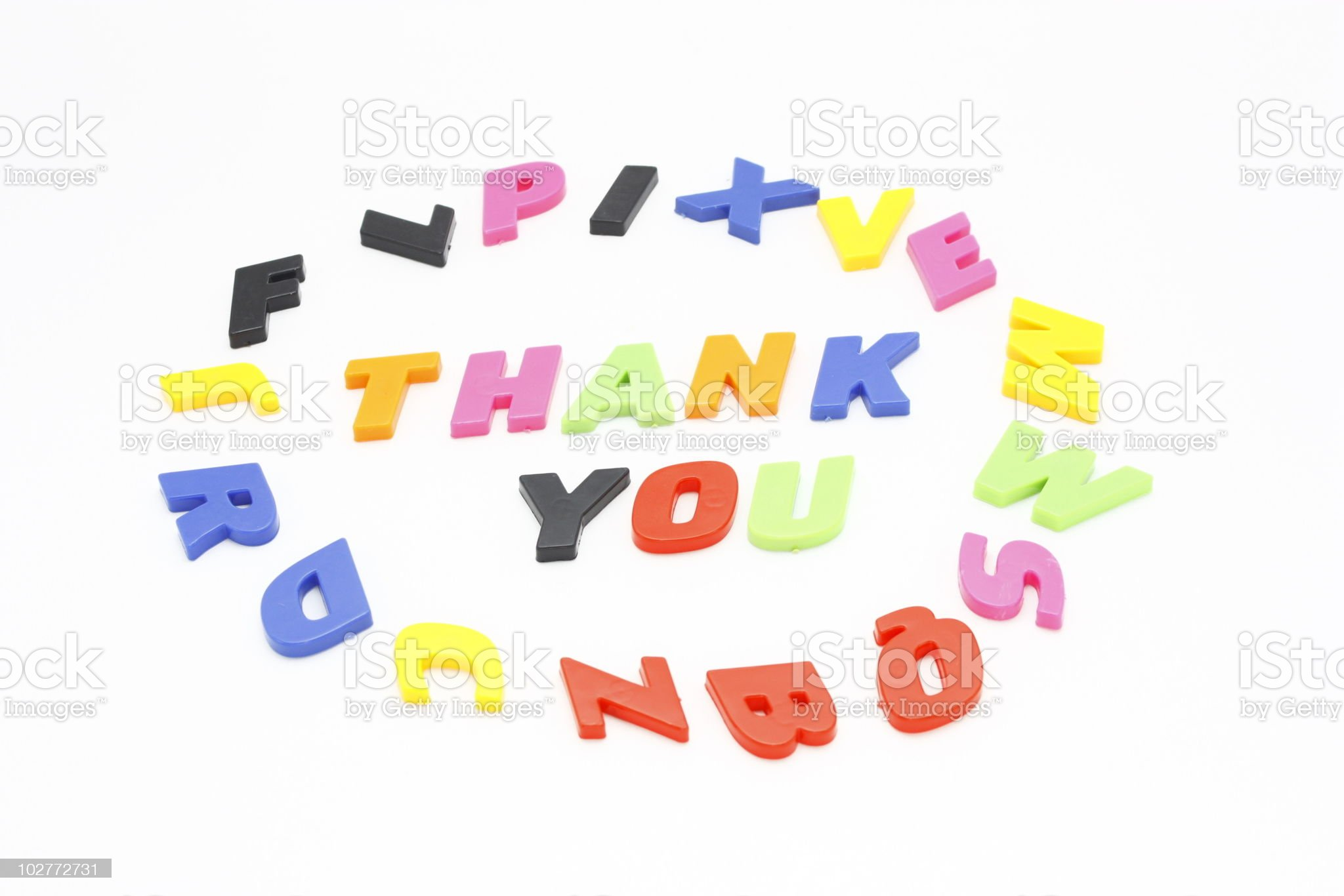 Thank You with Colorful Alphabet royalty-free stock photo