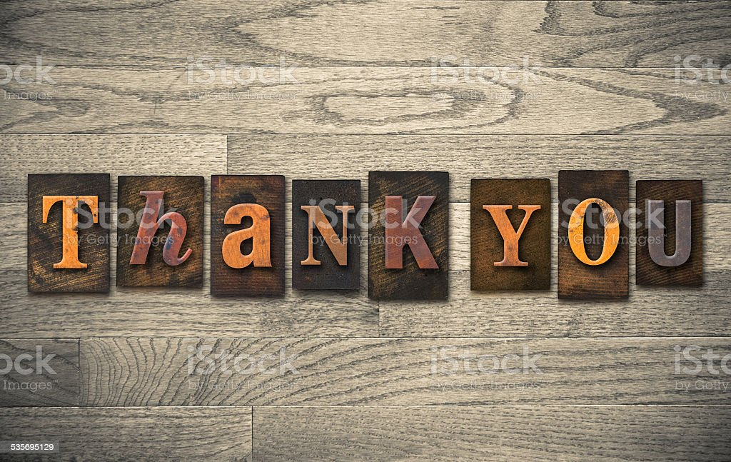 Thank You Wooden Letterpress Concept stock photo
