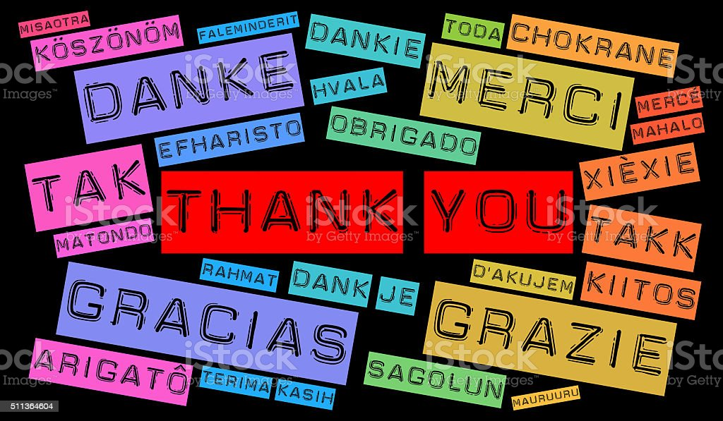 Thank You word cloud in different languages stock photo