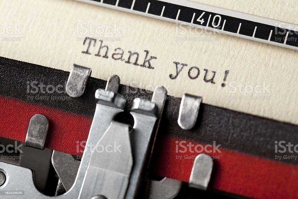Thank you written on an old typewriter royalty-free stock photo