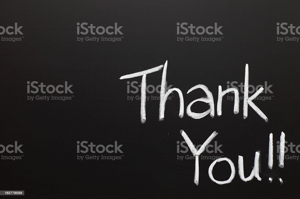 Thank you wrote on a chalk board royalty-free stock photo