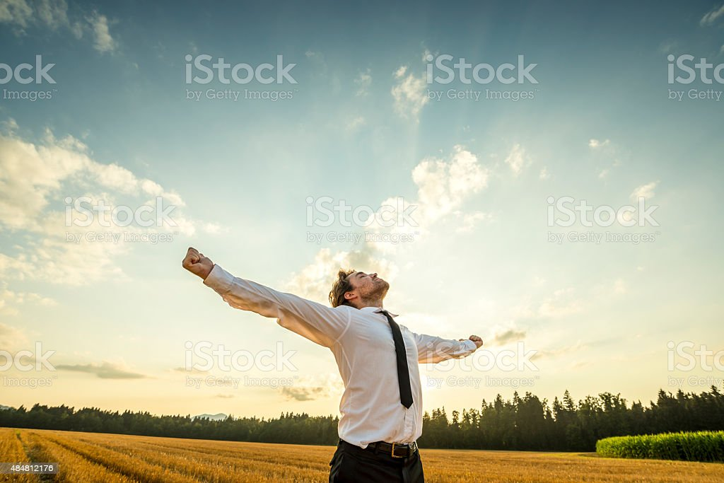 Thankful Businessman with Open Arms at the Field stock photo